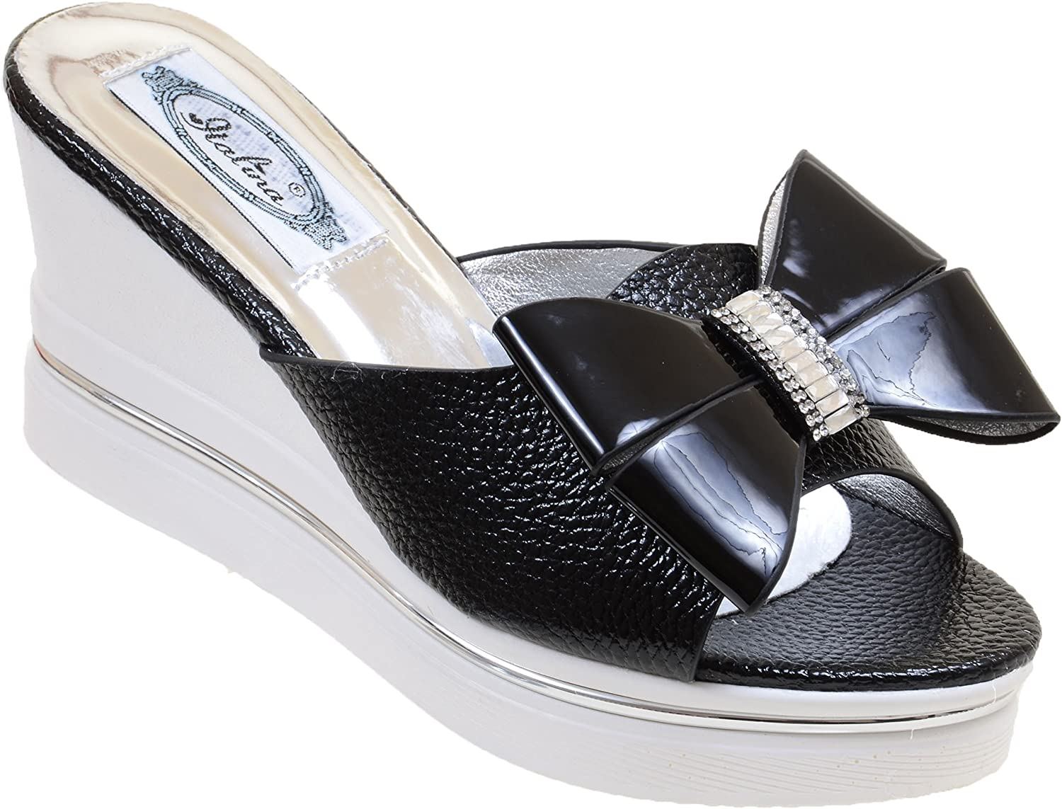 Bows Bling Open-Toe Slide shoes Black Patent Wedge Heels Women's