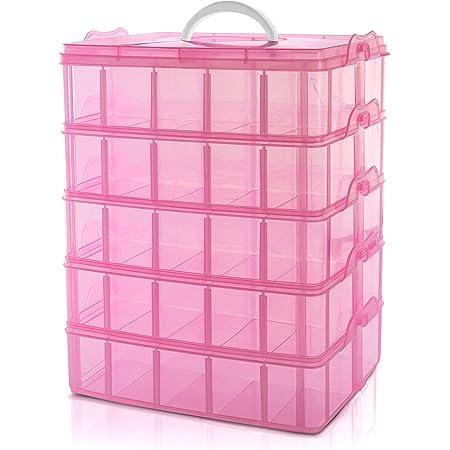 BELLE VOUS Caja Almacenamiento Plástico Rosado 5 Niveles - Ranuras de Compartimentos Ajustables - Caja Organizadora Plástico Transparente - Máximo 50 Compartimentos - Guardar Juguetes Joyas, Cuentas