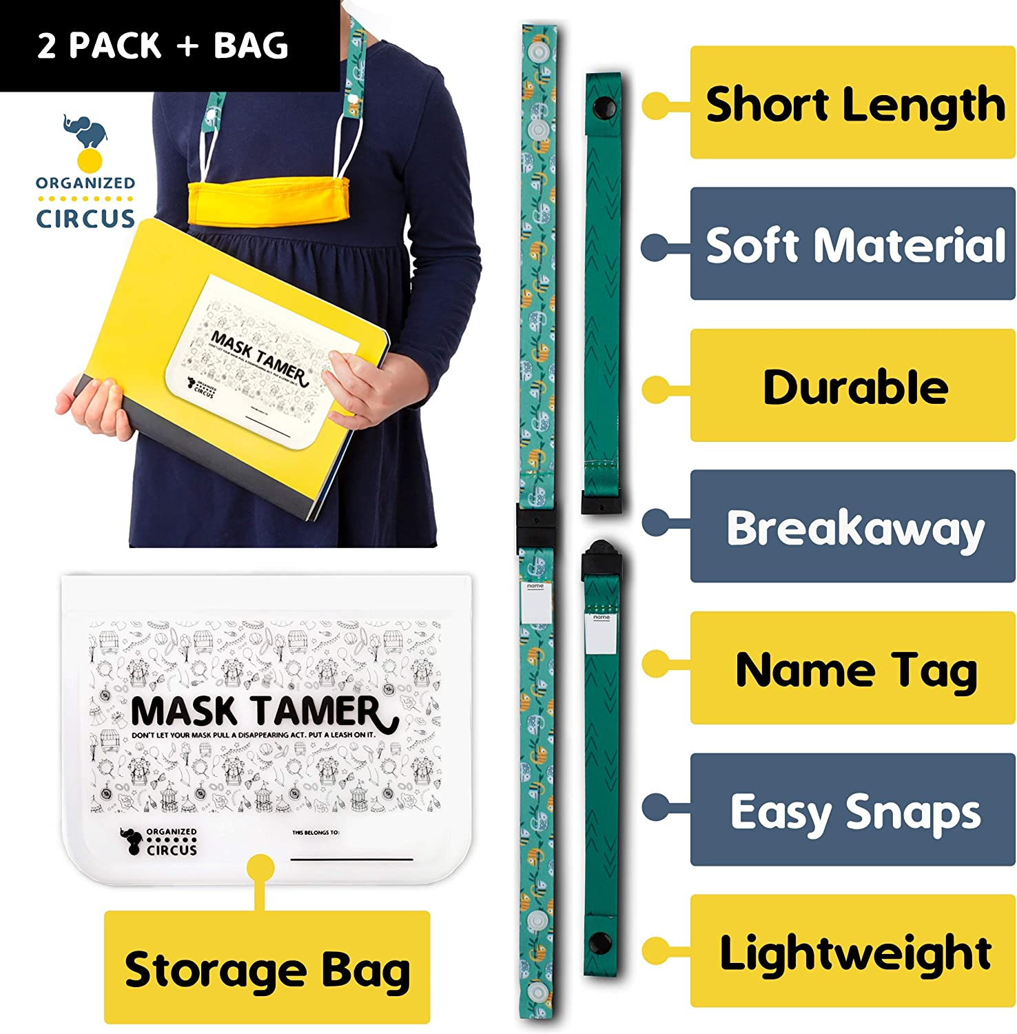 Pack of Two Face Mask Lanyards for Kids and One Face Mask Storage Case to Hold The Cute Breakaway Lanyard for Kids in School by Organized Circus Camo /& Grunge Breakaway Mask Lanyard for Kids