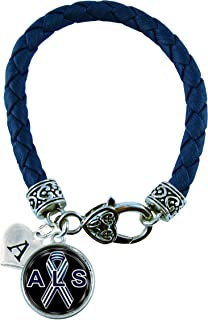 Custom ALS Lou Gherig's Awareness Blue Leather Bracelet Jewelry Choose Initial