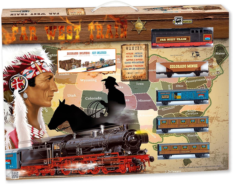 PEQUETREN Pequetren695 Classic Far Metallic Train with Light Fort and West Village Model