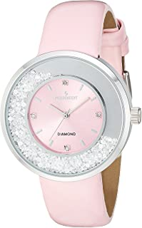 Peugeot Women's 'Diamond' Quartz Metal and Leather Casual Watch, Color:Pink (Model: 3041PK)