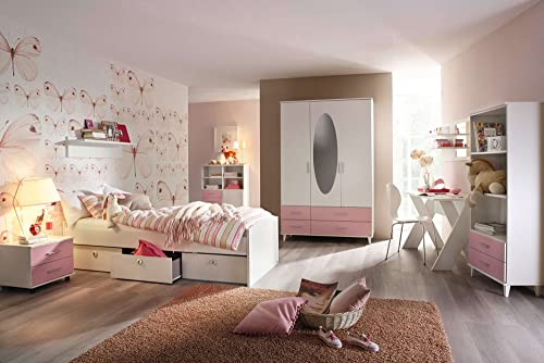 lifestyle4living Jugendzimmer, Kinderzimmer, Komplett-Set, Jugendm l, Kleiderschrank, Bett 90 x 200cm  , Nachtschrank, Kinderzimmer, Kinderm l, 3-teilig, mädchen