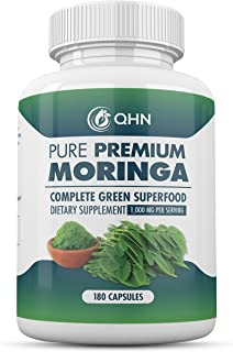 Organic Moringa 180 Capsules – 100% Pure Leaf Powder - Max 1000mg Per Serving - Complete Green Superfood Supplement - Full 3 Month Supply - Miracle Tree Organic Moringa Oleifera