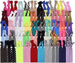 Kenz Laurenz 100 Hair Ties No Crease Ribbon Elastics Ouchless Ponytail Holders Hair Bands (100 Hair Ties-Prints and Solids)