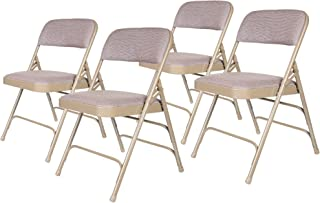 OEF Furnishings Premium Fabric Upholstered Steel Folding Chairs, 4 Pack, Beige