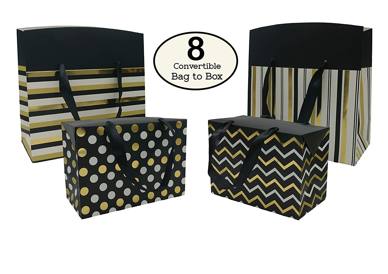 Gift Bags or Gift Boxes, Gold and Silver Polka Dots, Chevron and Stripes Design - Perfect for Party Favor Bags, Goody Bags, Holiday Gift Bags, Birthday Gift Bags and Wedding Gift Bags