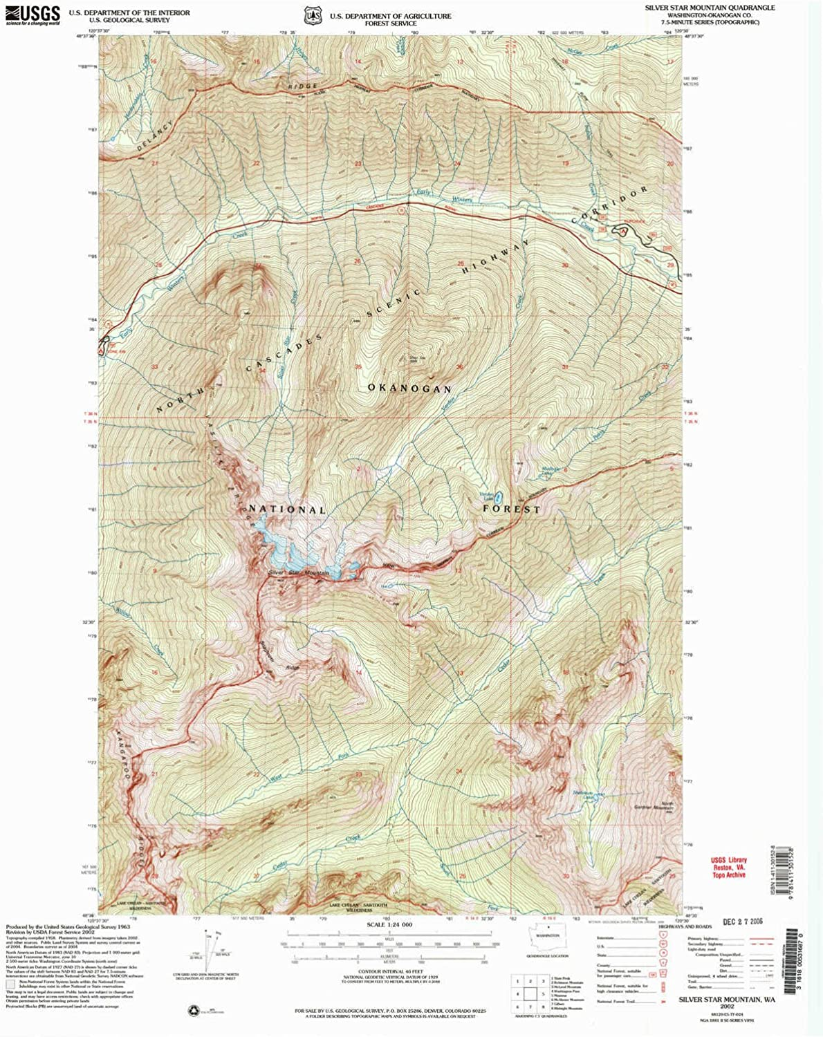 Silver Star Mountain WA topo map, 1 24000 Scale, 7.5 X 7.5 Minute, Historical, 2002, Updated 2006, 27 x 22 in