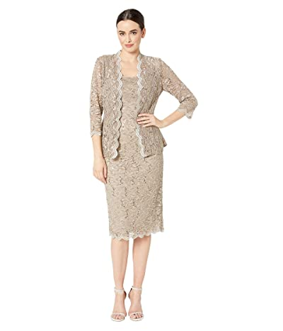 Alex Evenings Tea Length All Over Sequin Lace Jacket Dress (Champagne) Women