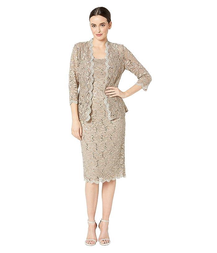 60s Dresses | 1960s Dresses Mod, Mini, Hippie Alex Evenings Tea Length All Over Sequin Lace Jacket Dress Champagne Womens Dress $178.95 AT vintagedancer.com