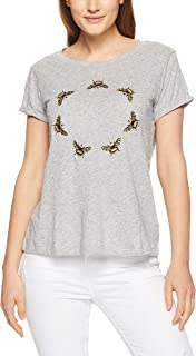 French Connection Women's Embelished Circle of Bees, Grey Marle/Multi
