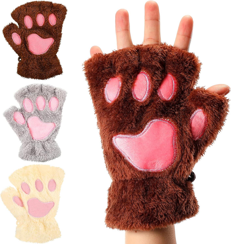 3 Pairs Women Cat Paw Gloves Winter Faux Fur Cute Kitten Fingerless Mittens Soft Cat Paw Mitten Glove for Women and Girl