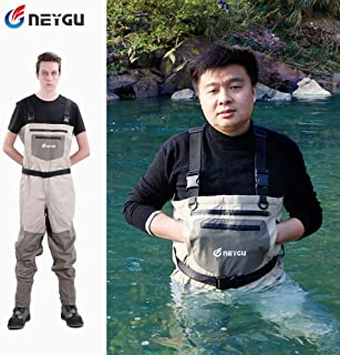 Neygu Quick-Drain Breathable Waders with 4mm Neoprene Stocking Foot for The Snow Wading and Rain Wading. The Chest Fishing & Hunting Wader is Keep Uers Warm in The Cold Water