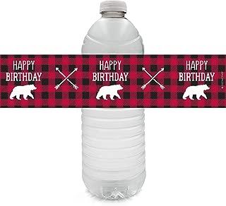 Plaid Lumberjack Birthday Water Bottle Labels - 24 Stickers