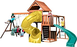 Swing-N-Slide PB 8272-TY Grandview Twist Deluxe Play Set with Two Slides, Two Swings, Glider, Rock Wall and Monkey Bars, Yellow