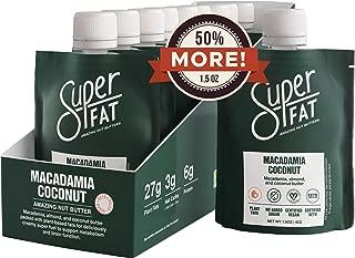 SuperFat Nut Butter Keto Snacks - Macadamia & Almond Nut Butter Fat Bomb Paleo Snack For Energy, Metabolism & Brain Function, Vegan, Gluten Free, Low Net Carb Box of 10 x 1.5 oz (Macadamia Coconut)