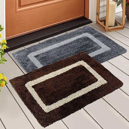 Story@Home Handicraft Style Eco Series Cotton Blend Door Mat Set (40 x 60 cm, 2 Piece, Multicolor)