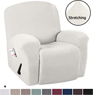 H.VERSAILTEX Stretch Recliner Slipcovers 1-Piece Durable Soft High Stretch Jacquard Sofa Furniture Cover Form Fit Stretch Stylish Recliner Cover/Protector (Recliner, Ivory White)