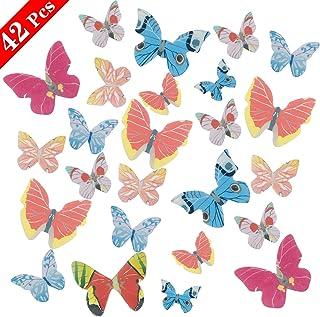 comprar comparacion NATEE 42pcs Mariposa Comestible, Adorno Comestible para Tartas, Oblea Decorativa, Cupcake Toppers Decoración de Tarta Post...
