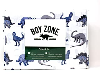 Boy Zone Grey with White Background Dinosaur Print Twin 3 Piece Set (Flat Sheet, Fitted Sheet, Standard Pillowcase) Soft and Wrinkle Free