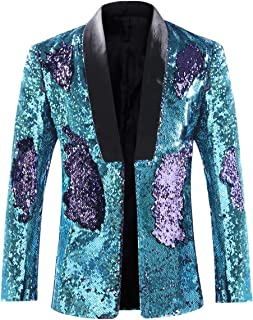 9176744ed2 Men's Sport Coat Slim Fit Shawl Collar Sequins Dance Party Blazer Jacket