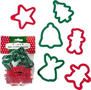 Set of 12 Plastic Christmas Cookie Cutters - 6 Fun Festive Designs - 2 Colors