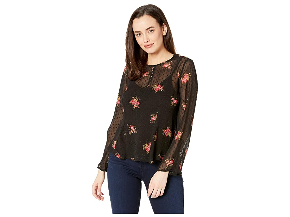 Lucky Brand Clip Dot Printed Top (Black Multi) Women's Long Sleeve Pullover