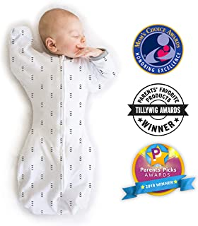 SwaddleDesigns Transitional Swaddle Sack with Arms Up, Tiny Arrows, Small, 0-3mo, 6-14 lbs (Parents' Picks Award Winner)