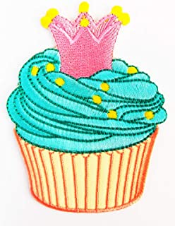Bakery Cake Blue Kids Patch Cupcake Crown Pink 2.75X3.5 in MEGADEE Patch Cartoon Kids Symbol DIY Iron on Patch Iron-On Designer Patch Used for Gifts Crafts Jeans Clothing Fabric (Cupcake Cake 001)