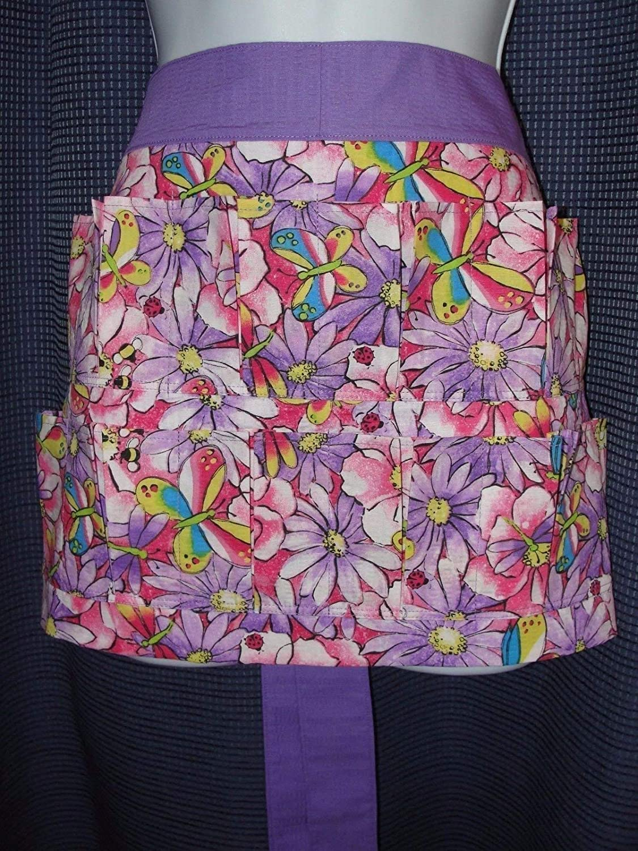 Purple Flowers Butterflies w ladybug Apron Pocket Pockets 12 Popular Choice