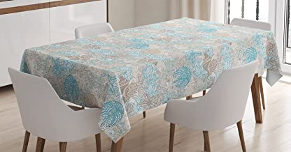 Ambesonne Nautical Tablecloth, Pastel Toned Sea Shell Starfish Mollusk Seahorse Coral Reef Motif Design, Rectangular Table Cover for Dining Room Kitchen Decor, 60