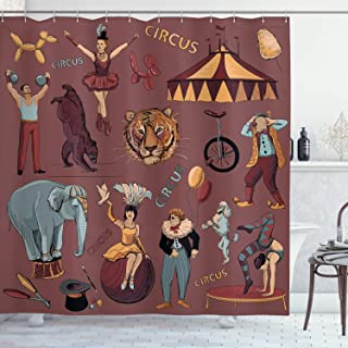 Vintage Shower Curtain by Ambesonne, Retro Circus Print with Tent Tiger Head Balloons Dogs Art with Dark Coral Backdrop, Fabric Bathroom Decor Set with Hooks, 75 Inches Long, Multicolor