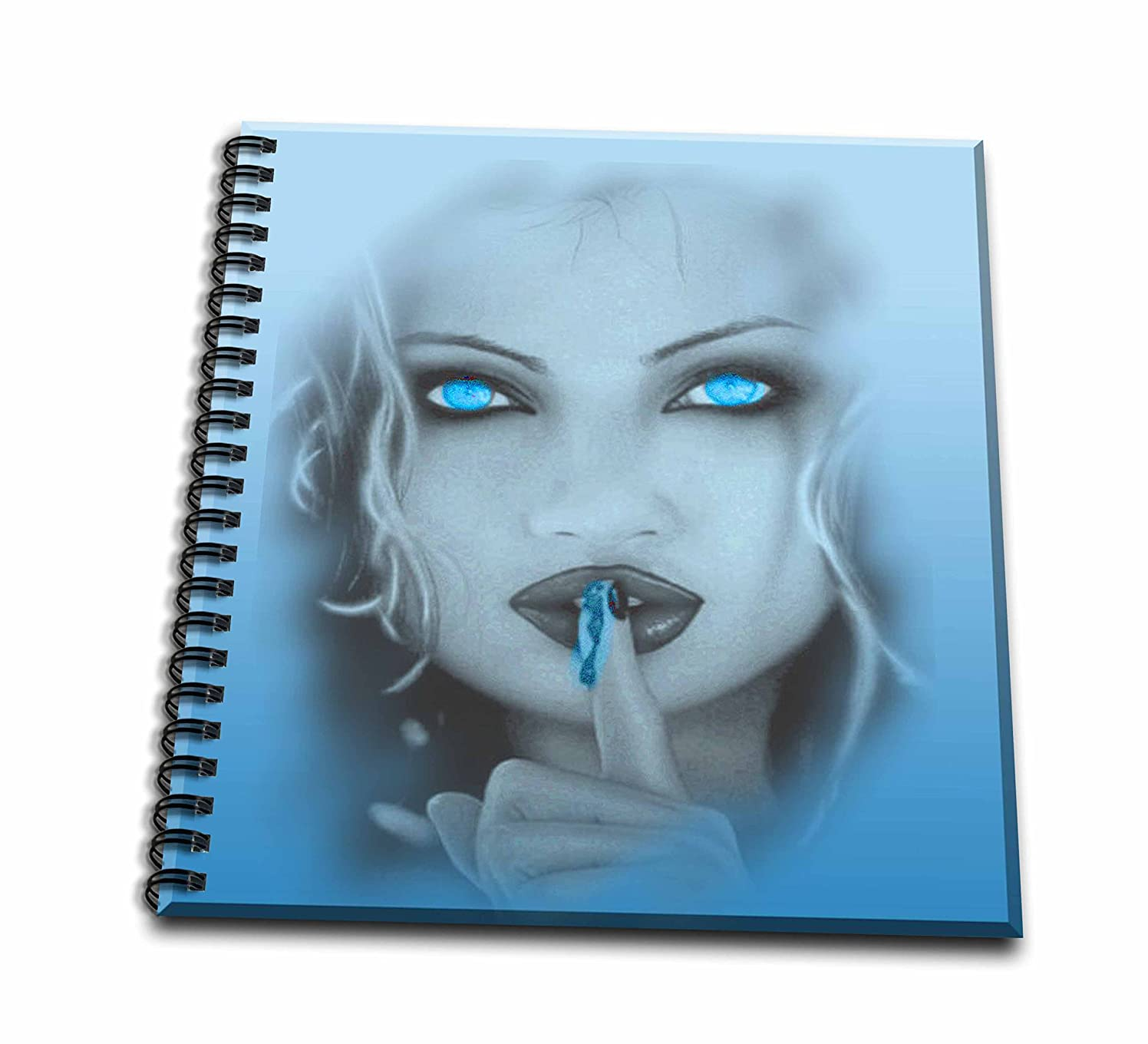 3dRose db_128819_1 Pastel Blue Gothic Lady Drawing Book, 8 by 8-Inch