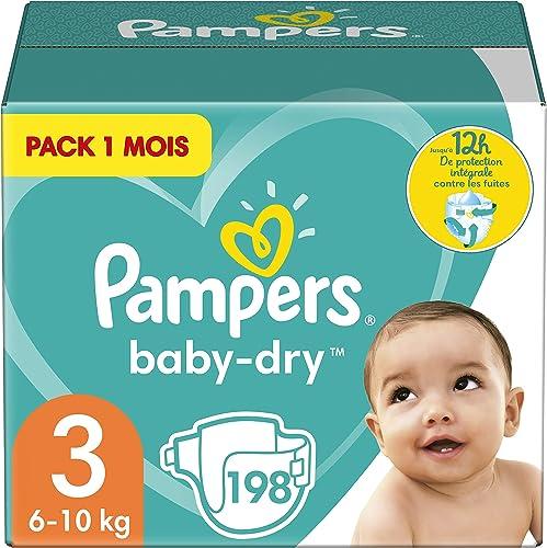 Pampers Couches Baby-Dry Taille 3 (6-10kg) Jusqu'à 12h Bien Au Sec et avec Double-Barrière Anti-Fuites, 198 Couches (...