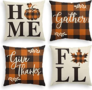 AVOIN Home Fall Buffalo Check Plaid Pumpkin Maple Leaf Throw Pillow Cover, 20 x 20 Inch Autumn Give Thanks Gather Farmhouse Cushion Case for Sofa Couch Set of 4