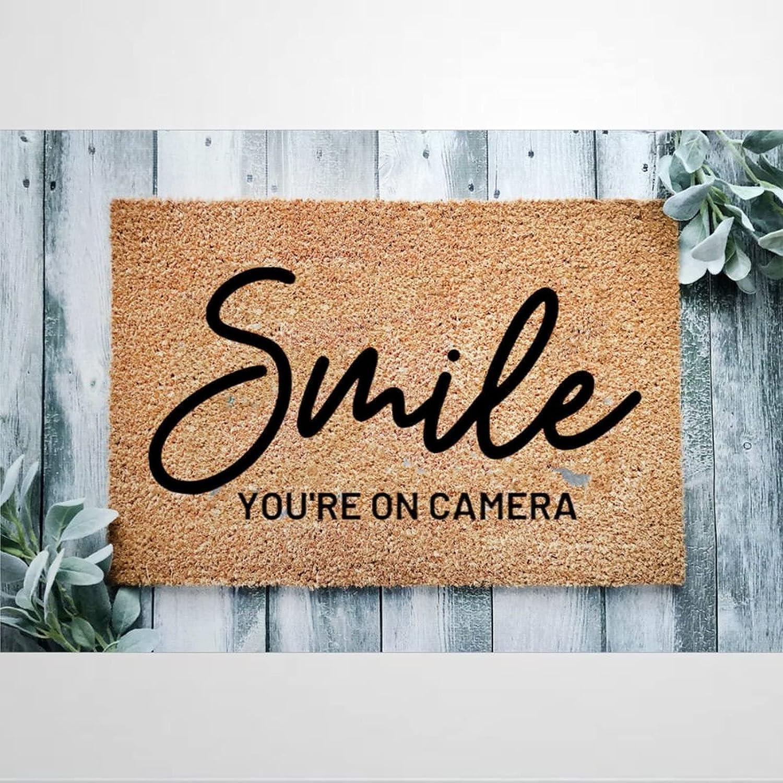 Smile You're On Camera Coir Doormat Door for Mats Welcome Rustic Sale Ranking TOP7 price