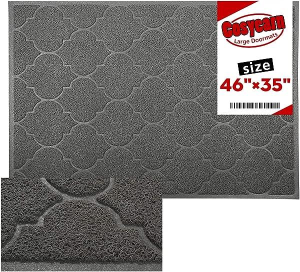 Cosyearn Large Door Mats 46x35 Inches XL Jumbo Size Outdoor Indoor Entrance Doormat Waterproof Easy Clean Entryway Rug Front Doormat Inside Outside Non Slip Grey