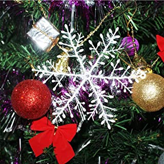 DegGod 30 Pcs Christmas Snowflakes, White Plastic Snow Flake Ornaments for Xmas Tree Window Hanging Decorations Holiday Party Home Decor (White, 4.3inches)