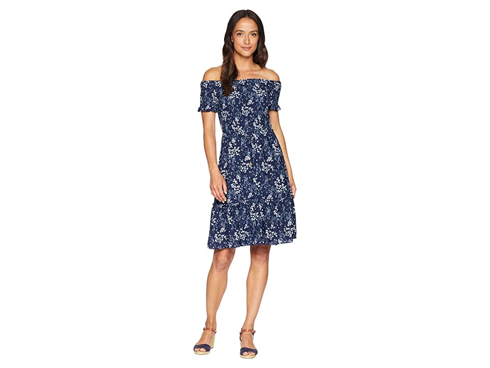 MICHAEL Michael Kors Smocked Off Shoulder Dress (True Navy/Light Chambray) Women