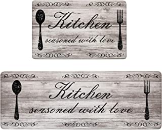 Pauwer Anti Fatigue Kitchen Mat Set of 2 Cushioned Kitchen Floor Mats Waterproof Kitchen Rugs Non Slip Kitchen Runner Rug ...
