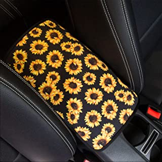 YR Vehicle Center Console Armrest Cover Pad, Universal Fit Soft Comfort Center Console Armrest Cushion for Car, Stylish Pattern Design Car Armrest Cover, Sunflower