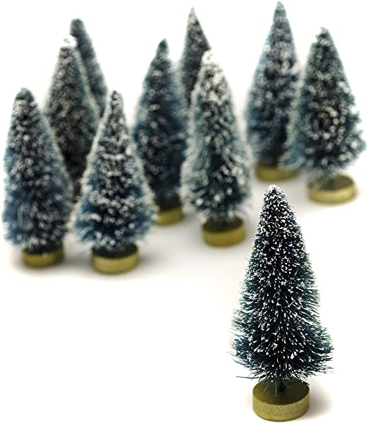 Darice Sisal Tree Green With Frost 3 Inches 10 Pieces Big Value