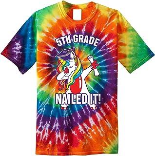 Dabbing Unicorn 5th Grade Graduation Nailed It Youth Tie Dye T-Shirt
