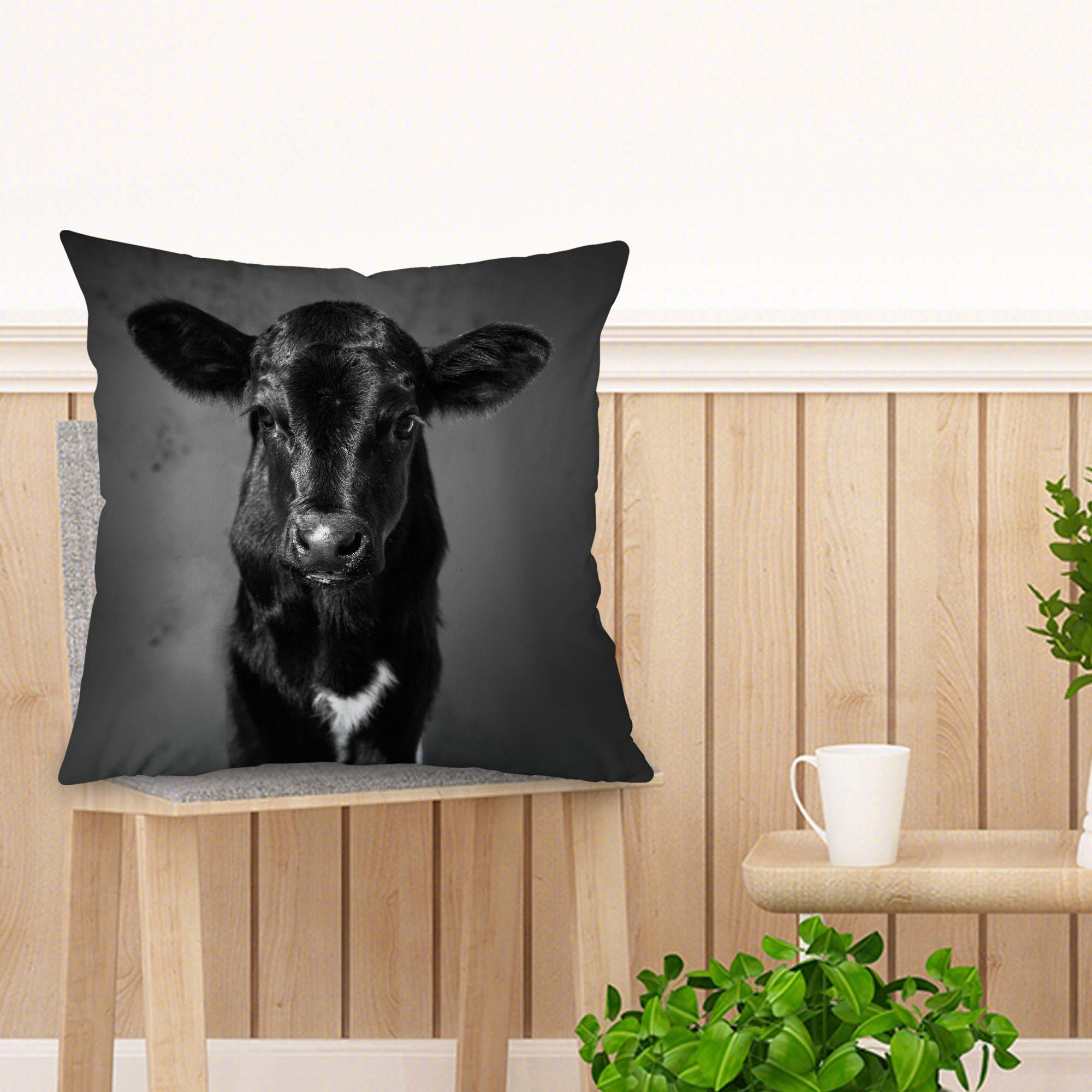 Single Country Baby Black /& White Calf Pillow Case