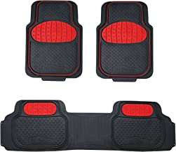 FH Group F11500 Touchdown Floor mats Full Set Rubber Floor Mats, Red/Black Color- Fit Most Car, Truck, SUV, or Van