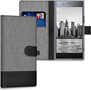 kwmobile Wallet Case for Sony Xperia XZ Premium - Fabric and PU Leather Flip Cover with Card Slots and Stand - Grey/Black ...