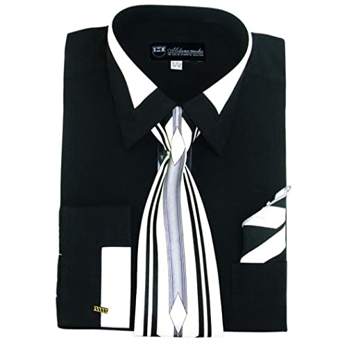 """George/""""s Checks Shirt Tie with Hanky French Cuff Tow Tone Color Cotton Brand 626"""