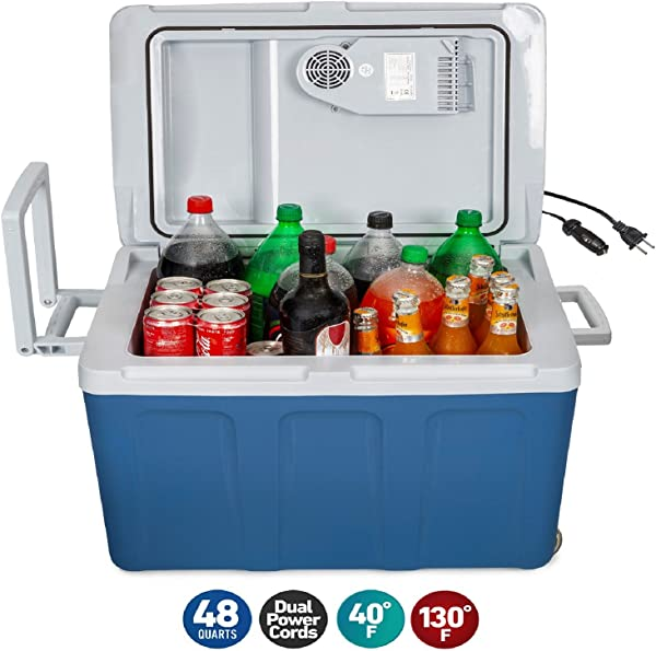 K Box Electric Cooler And Warmer With Wheels For Car And Home 48 Quart 45 Liter 6 FT EXTRA Long Cables Dual 110V AC House And 12V DC Vehicle Plugs Blue