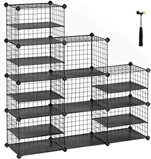 SONGMICS Cube Storage Unit, Shoe Rack, Interlocking Metal Wire Organizer with Dividers, Modular Cabinet, DIY for Closet, Living Room, Kid's Room, 48.4 x 12.2 x 48.4 Inches, Black ULPI401H