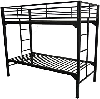 University Bunk Bed with Built in Ladders, Twin Over Twin, Black